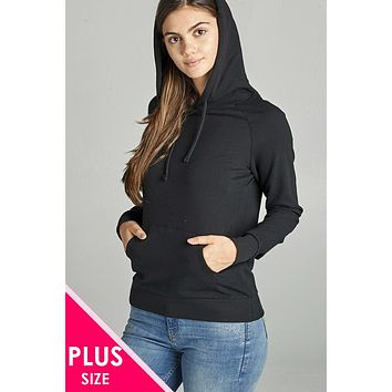 Women's Plus Size Fashion Long Sleeve Pullover French Terry Hoodie Top W/ Kangaroo Pocket