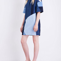 VICTORIA VICTORIA BECKHAM Patchwork-panel denim dress