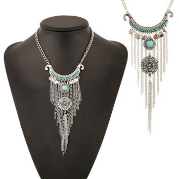 Bohemian Gypsy Style Turquoise Tassel Necklace