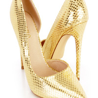 Gold Pointy Single Sole Heels Metallic Faux Leahter