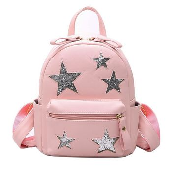 Korean Small Leather Backpack Women Sequin Star Backpacks for Teenage Girls School Bags Cute Kawaii Designer Travel Bagpack A30