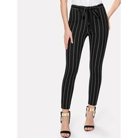 Black And White Mid Waist Striped Tapered Carrot Crop Pant