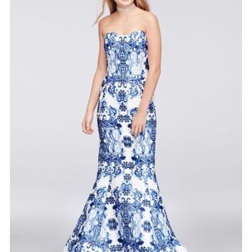 Paisley Print Mikado Mermaid Gown | David's Bridal