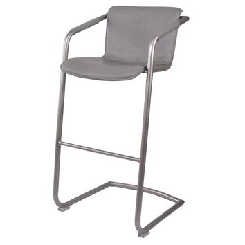 Greyson Bar Stool Silver Frame, Antique Graphite Gray Leather Set Of 2