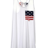 Patriotic Flag Pocket Bow Back Loose Tank White