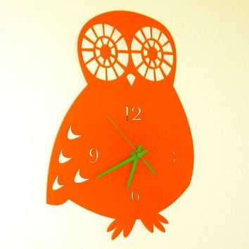 Retro owl wall clock choose your own colour by ikandi11 on Etsy