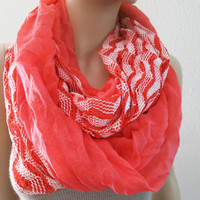 ON SALE - Chevron Scarf Tomato Red Infinity Circle Loop Scarf Shawl