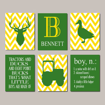 DEER Nursery Wall Art Baby Boy Nursery Decor Deer Antler Tractor Duck Country Nursery Green Yellow Big Boy Bedroom Set of 6 Prints Or Canvas