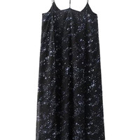 Black Galaxy Print Split Cami Dress
