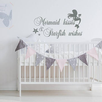 Mermaid Kisses And Starfish Wishes Wall Decal Quote, Mermaid Nursery Bedroom Decor, Mermaid Vinyl Wall Decal, Girls Wall Decal Sticker K153