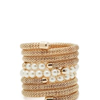 Metal Cap Pearl + Chain Coil Bangle