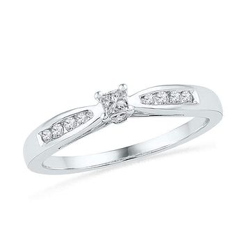10kt White Gold Women's Round Diamond Solitaire Promise Bridal Ring 1/5 Cttw - FREE Shipping (US/CAN)