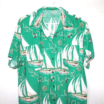 SALE 70s does 50s Rockabilly Light Green Vintage Popeye Sailboat Shirt