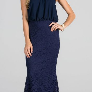 Beaded Neck Halter Blouson Long Formal Dress Navy Blue