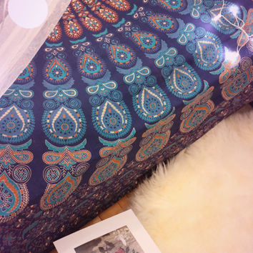 Blue Mandala Tapestry Gypsy Beach Throw / Bedspread / Hippie Wall Hanging