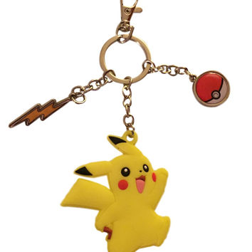 Pokemon Sun and Moon Pikachu Soft Touch Keychain with Pokeball Metal Charms