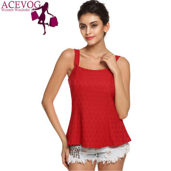 ACEVOG Brand Women Tank Top Casual Summer 2015 2016 Sexy Sleeveless Backless Slim Lace Tank Tops T Shirts White Red