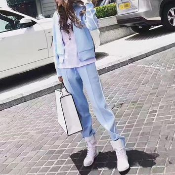 CUPCUPLQ Givenchy' Women Casual Embroidery Letter Star Stripe Zip Cardigan Long Sleeve Set Two-Piece Sportswear