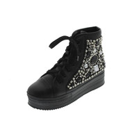N.Y.L.A. Womens Marinda Faux Leather Embellished Fashion Sneakers