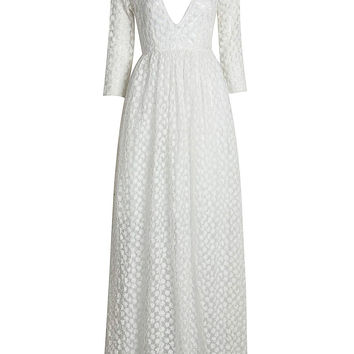 White Plunging Neckline Embroidery Empire Maxi Dress