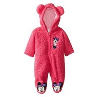 Disney Disney Minnie Mouse Infant Girls Hot Pink Faux Shearling Snowsuit Baby Pram