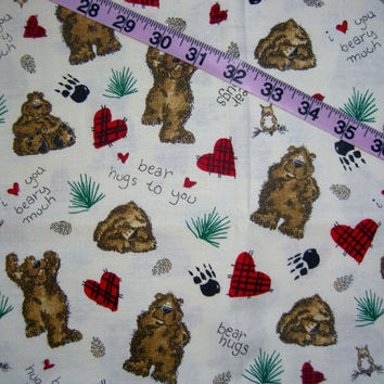Quilters fabric Bear Hugs to You cotton quilt print quilting sewing material to sew for crafts by the yard yardage crafting Marcus Brothers