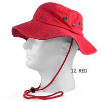 100% COTTON SAFARI HATS BUCKET WIDE BRIM FISHING BUCKET CAP MENS OUTBACK 12-RED S/M