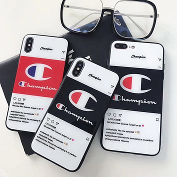 Champion Tide brand glass case iPhoneX couple models mobile phone case