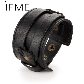 IF ME Fashion Men Leather Bracelet Open Cuff Rope Bangles & Bracelet Double Wide Black Brown Color Vintage Punk Unisex Jewelry