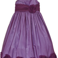 (Sale) Purple Tulle Overlay Dress with Large Dimensional Mesh Flowers at the Hem (Girls 2T - Size 12)