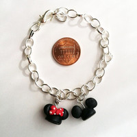 Mickey and Minnie Ear Hat Clay Charm Bracelet by aWishUponACharm