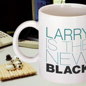 One Direction, Larry is the New Black Mug, 11 oz White Coffee Cup, Louis Tomlinson & Harry Styles OTP