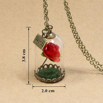 Beauty and the Beast Natural Red Forever Rose Flower Glass Bottle Vintage Retro Pendant Necklace For Women Girl Friend Best Gift