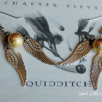 Harry Potter Golden Snitch Earrings, Harry Potter Jewelry, Quidditch Jewelry
