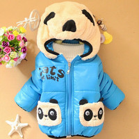 2015 New Winter Panda Baby Boys Outerwear hooded lovely cartoon print  Infant Coat A305