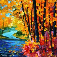 SOUNDS OF THE FALL— PALETTE KNIFE Oil Painting On Canvas By Leonid Afremov - Size 30X30. use 10% discount coupon - deviantart10off
