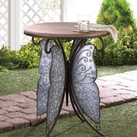 Rustic Side Table Night Stand Iron End Table Metal Wood Butterfly Wings Accent