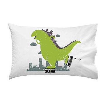 'Roller Skating' Funny Classic Movie Monster Skating on City Bus - Pillow Case Single Pillowcase