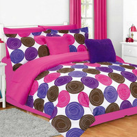 Jacky Hot Pink Twin Comforter Set