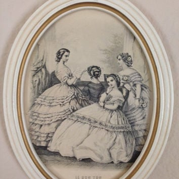 Le Bon Ton Victorian Girls French Vintage Fashion Print Framed