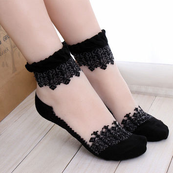 1Pair Women Lace Ruffle Ankle Sock Soft Comfy Sheer Silk Cotton Elastic Mesh Knit Frill Trim Transparent Ankle Socks bz676971