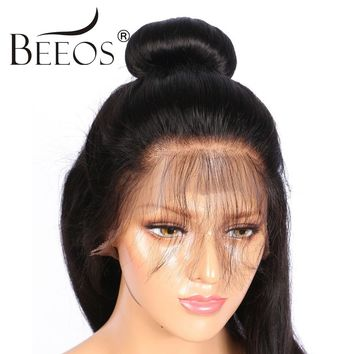 BEEOS Pre Plucked Full Lace Wig Human Hair Lace Wigs For All Women Straight  Brazilian Remy Hair With Baby Hair Bleached Knots