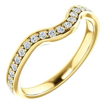 14k Yellow Gold Band For 7.4mm Round Ring