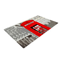"Oriana Cordero ""London"" Red Gray Woven Area Rug"