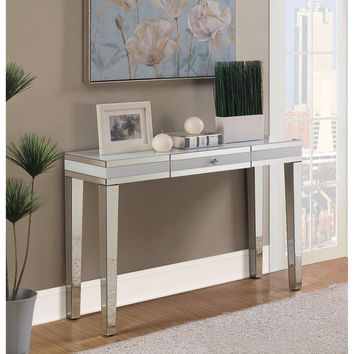 Artistically Charmed Mirrored Console Table, Silver By Coaster