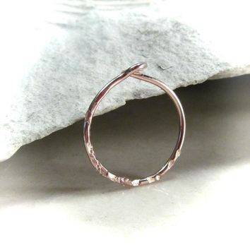 Tiny Hoop Earring Rose Gold Sparkle Single