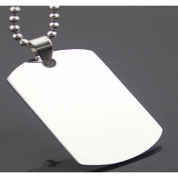 Military Army Style 316L Stainless Steel Dog Tags Pendant Necklace