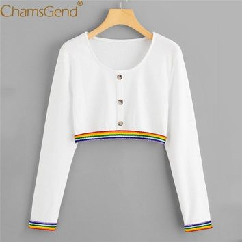 Women Rainbow Striped White Shirts Spring Autumn O Neck Buttons Crop Top Woman Long Sleeve Pullover Sweatshirts 90117