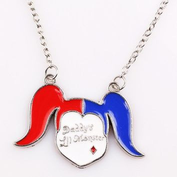 Suicide Squads Necklace Alloy Metal Hanger Chain Clown Girl Necklace Cartoon cute Jewelry For Women Accessories