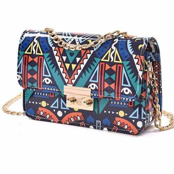 Bohemian Art Print Synthetic Leather Crossbody Chain Messenger Bag